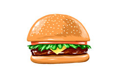 Juicy Burger on a white background Royalty Free Stock Image