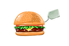 Juicy Burger on a white background with price Stock Photo