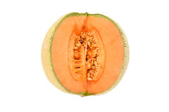 Juicy canteloupe melon sliced open Royalty Free Stock Photo