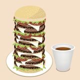 Juicy Cheese Burger with Disposable Coffee Cup Royalty Free Stock Photos
