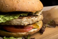 Juicy cheeseburger with lettuce, tomato, onion, and melted cheese and French fries stock image