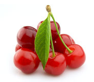 Juicy cherries. Isolated on white background Stock Image