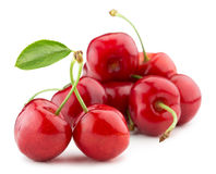 Juicy cherries isolated on the white background Stock Images