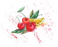 Juicy cherries. And lemon on the wite background Stock Images