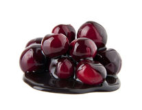Juicy cherry in a chocolate Stock Photo
