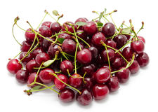 Juicy cherry with leaf isolated Stock Photos