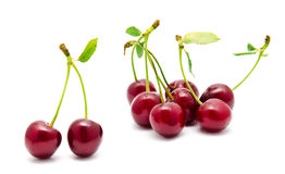 Juicy cherry with leaf isolated Stock Photo