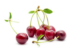 Juicy cherry with leaf isolated Royalty Free Stock Photos