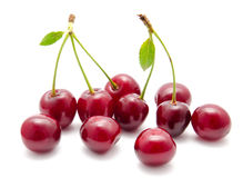 Juicy cherry with leaf isolated Royalty Free Stock Photo