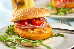 Juicy chicken burger Stock Image
