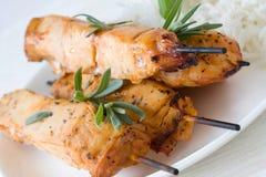 Juicy chicken kebab royalty free stock photo