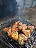 Juicy, chicken wings grilled on a barbecue royalty free stock photo