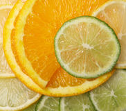 Juicy citrus background. Orange and lime Stock Photography