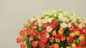 Juicy, colorful bouquet of pink and orange roses, close-up stock video footage