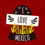 Juicy colorful typographic poster with the symbol of the cactus country of Mexico on a bright red background with texture. I love Royalty Free Stock Photography