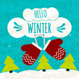 Juicy colorful typographic poster with symbols of warmth in the cold of mittens. Hi winter. Warming winter flyer. Vector Royalty Free Stock Photography