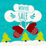 Juicy colorful typographic poster with the text about winter discounts and lower prices. Flyer for print shops and cafes. Winter s Royalty Free Stock Photos