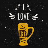 Juicy colorful typographical poster with a foaming mug of chilled beer on a black background with texture. Print I love beer. Vect Royalty Free Stock Images