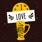 Juicy colorful typographical poster with a foaming mug of chilled beer on a dark background with a texture. I love beer. Vector. Illustration vector illustration