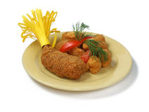 Juicy cutlet po-Kievski. With a crust cauliflower in crackers Stock Images