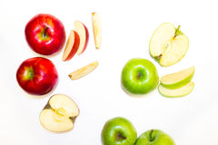Juicy, delicious, ripe apples green and red on a white background. а juicy, delicious, ripe apples green and red on a white background Stock Photo