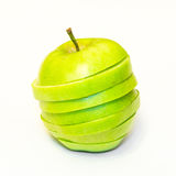Juicy, delicious, ripe apples green on a white background Royalty Free Stock Photography