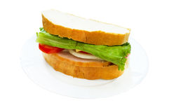Juicy delicious sandwich  on a plate Royalty Free Stock Image