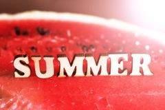 Juicy delicious watermelon and wooden text letters summer. Sunny mood royalty free stock image