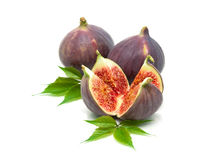 Juicy figs closeup on a white background Royalty Free Stock Photography