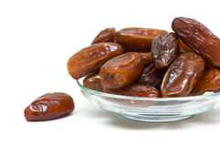 Juicy figs in a glass bowl on white background Stock Image