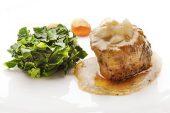 Juicy Fillet Mignon served with Sauce and Vegetables Stock Image
