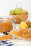 Juicy flavorful figs and jam. On bread Royalty Free Stock Images