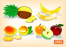Tropical fruits and apples with a juicy taste. Juicy and fragrant tropical fruits. Pineapple, banana and mango. Whole and sliced. And bright apples. Tasty Stock Images