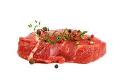Juicy, fresh beef steak with spices, horizontal Royalty Free Stock Image