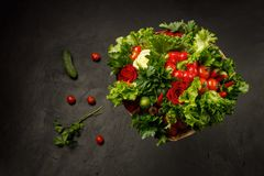 Juicy, fresh and colorful edible bouquet of vegetables on a black background stock image
