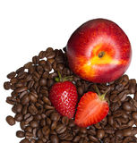 Juicy fresh fruits with coffee Stock Photography