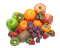 Juicy fresh fruits isolated on white background Royalty Free Stock Images