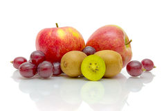 Juicy fresh fruits on white background Stock Image