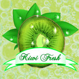 Juicy fresh kiwi with leaves, drops  and ribbon. Stock Photography