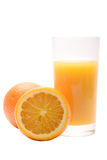 Juicy fresh orange with the glass of juice Royalty Free Stock Photos