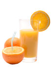 Juicy fresh orange with the glass of juice Royalty Free Stock Photo
