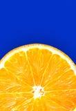 Juicy fresh orange isolated on blue background Stock Photos