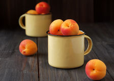 Juicy fresh peaches in a bucket Royalty Free Stock Image