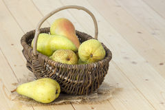 Juicy fresh pears in a basket Royalty Free Stock Images