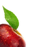 Juicy fresh red apple with green leaf isolated Royalty Free Stock Photos
