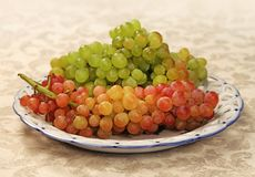 Juicy fresh red and white grapes Stock Image