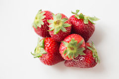Juicy fresh ripe red strawberries on white Royalty Free Stock Photos