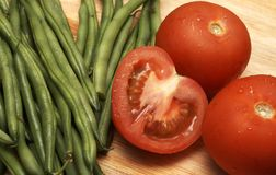 Juicy Fresh Tomatoes And Beans Stock Images
