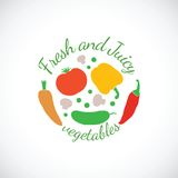 Juicy and Fresh vegetables vector symbol icon or Stock Photo