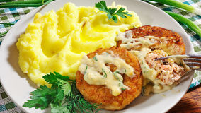 Juicy fried meat cutlets with mashed potatoes Stock Photography